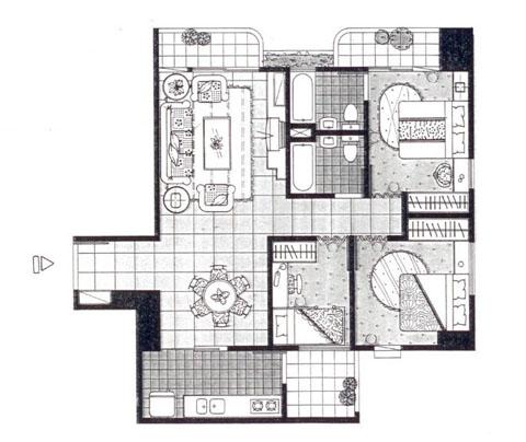 步骤一:取得房屋格局的平面图,可依比例自己缩绘或是向建设公司拿取